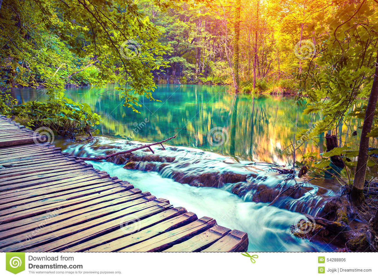 colorful autumn sunrise in the plitvice lakes national Picnic Clip Art tropical foliage clipart