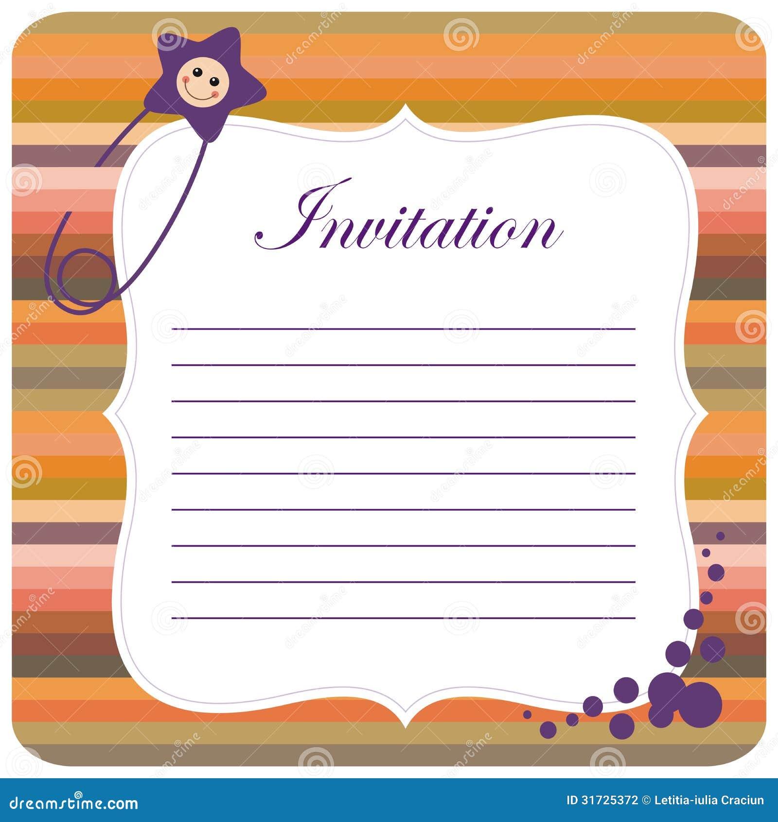 Colorful baby invitation