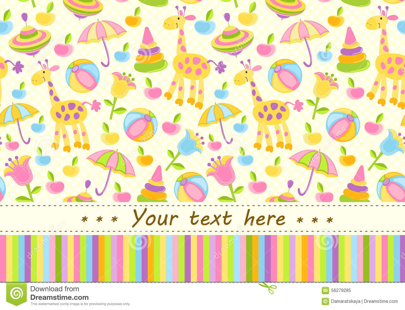 colorful baby shower background with place for text stock vector
