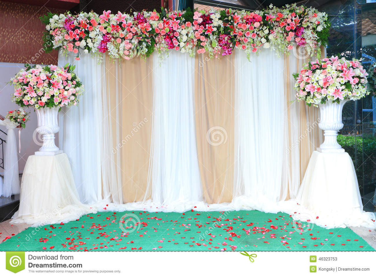 Colorful Backdrop Flowers With White And Gold Fabric Arrangement
