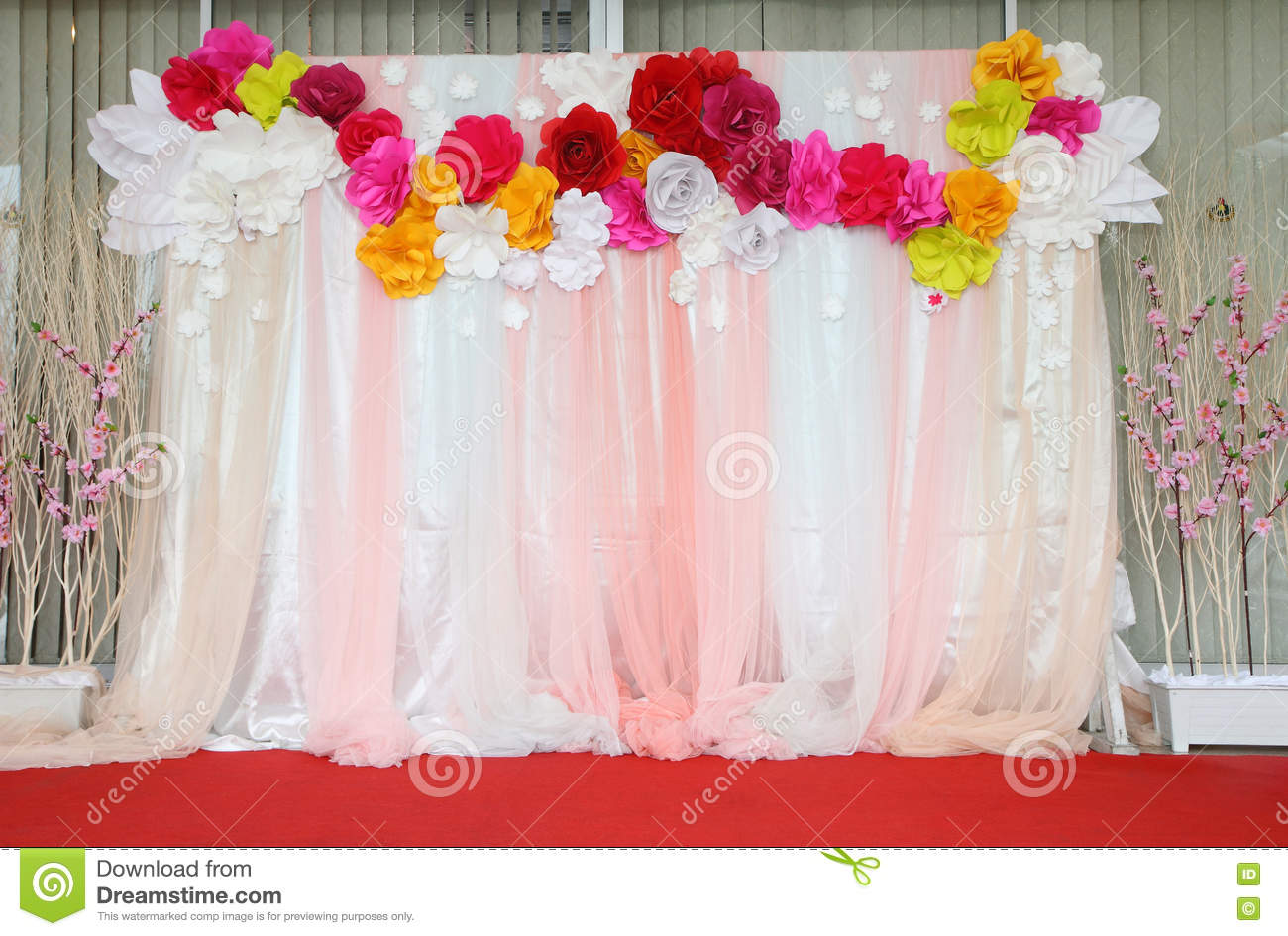 colorful backdrop paper flower with fabric arrangement stock image