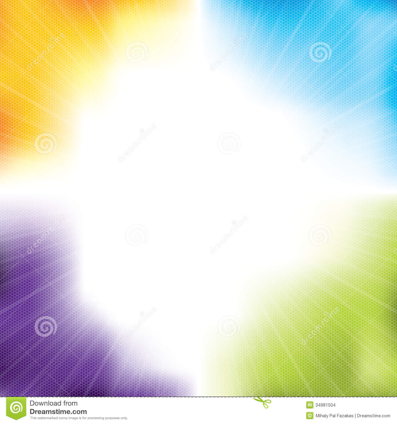 Colorful abstract background design with light burst and hexagon ...