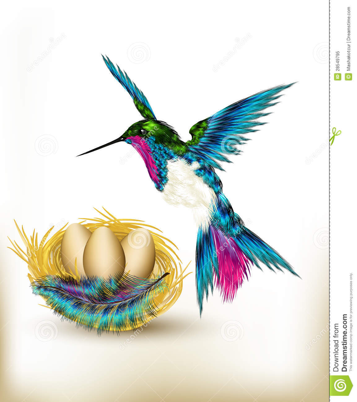 Download Colorful Background With Realistic Hummingbird And Nest Full Of Stock Vector - Illustration of heart, animal: 28549795