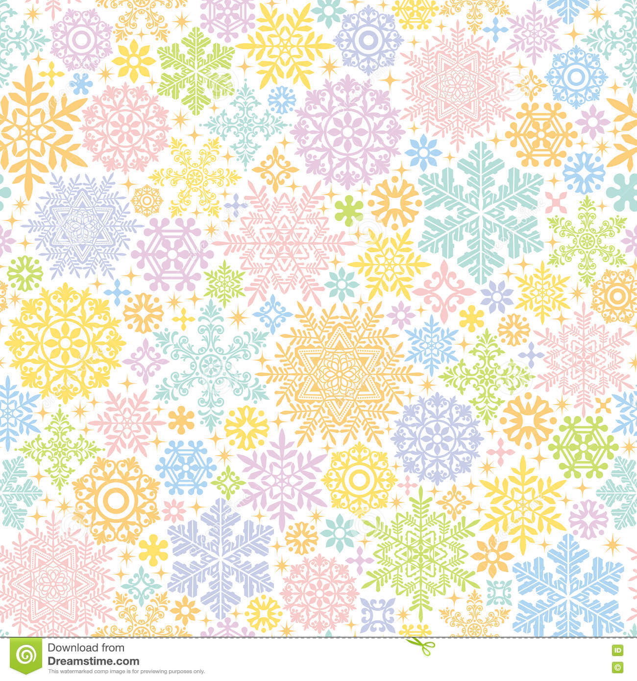 Colorful background with snow crystals and doilies.