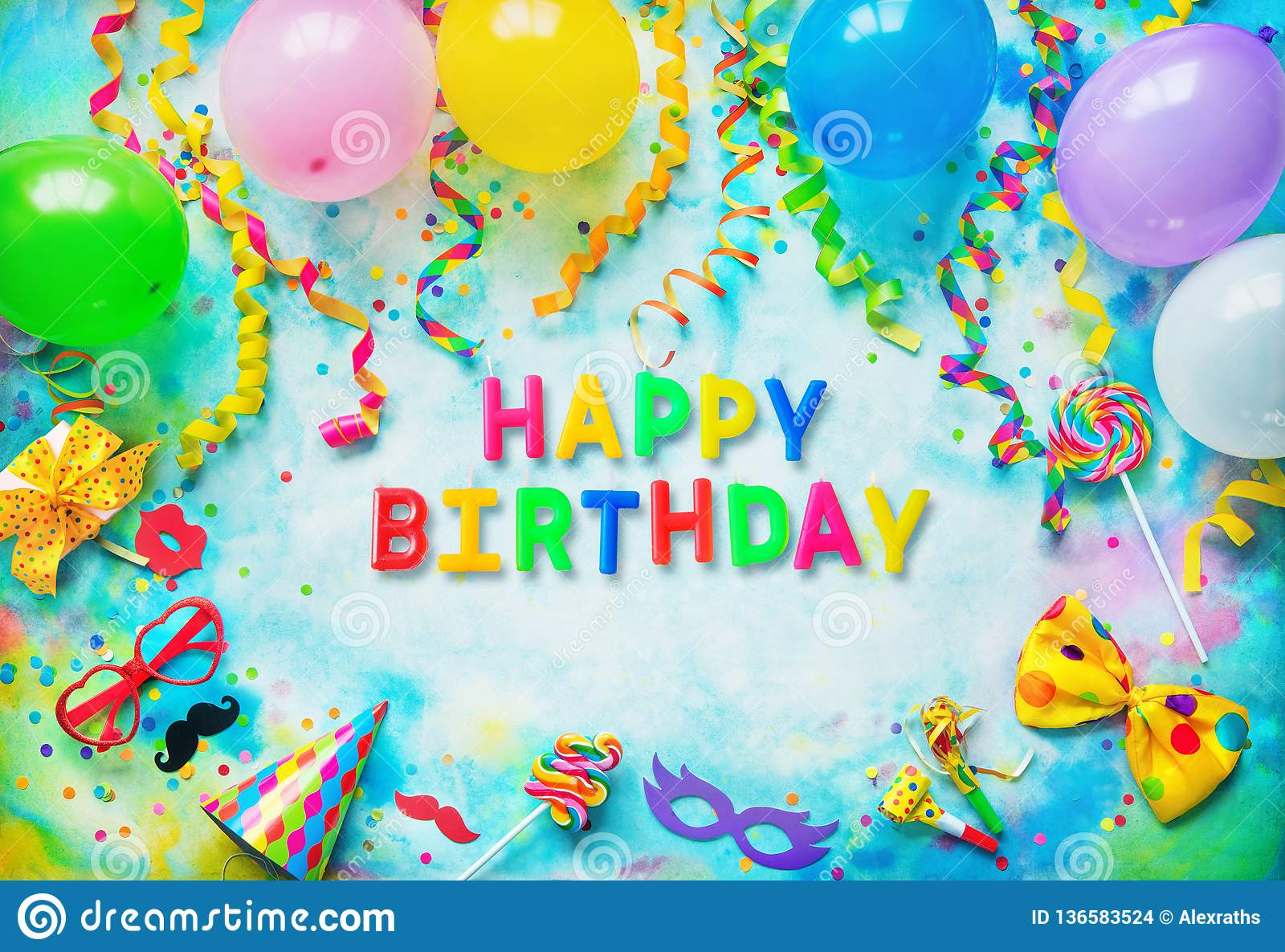 Balloons Gift Box Confetti Candy Bow Tie Sunglasses Party Hat And Streamers On Colorful Background With Text Happy Birthday From Candles Top