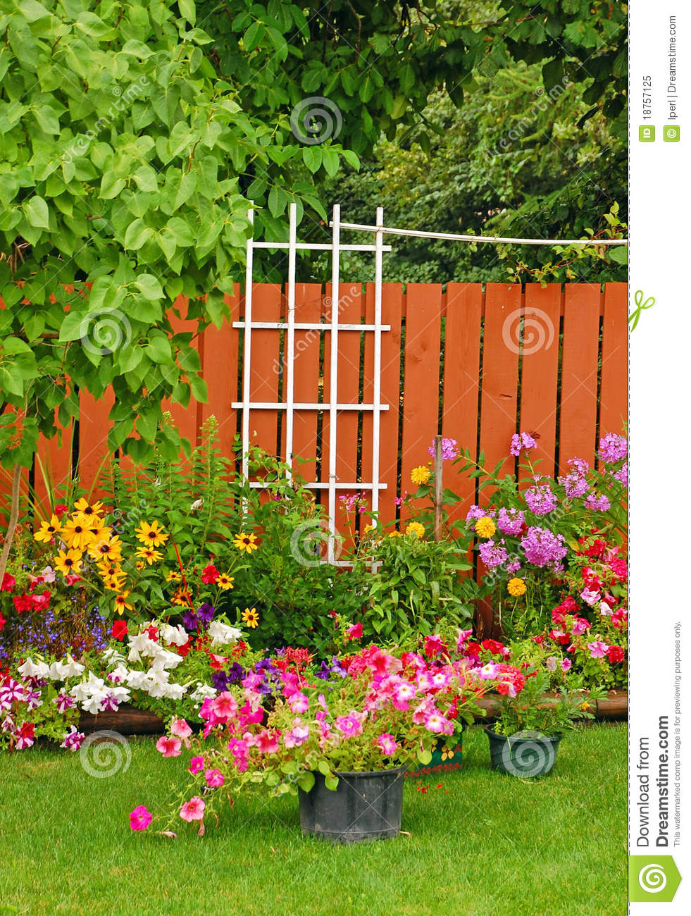 Colorful backyard garden royalty free stock photo image for Gardening and landscaping