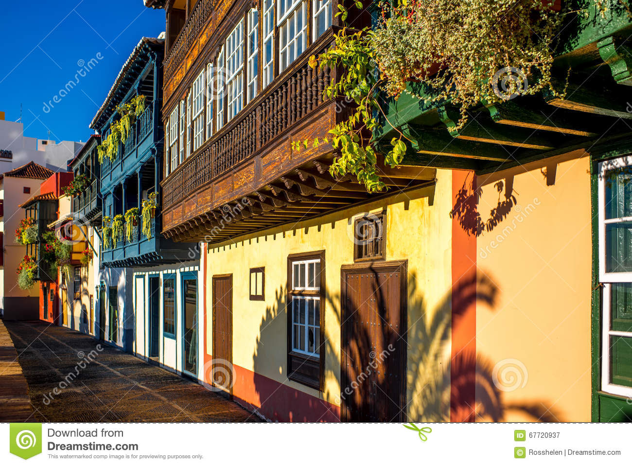 colorful balconies in santa cruz city on la palma island