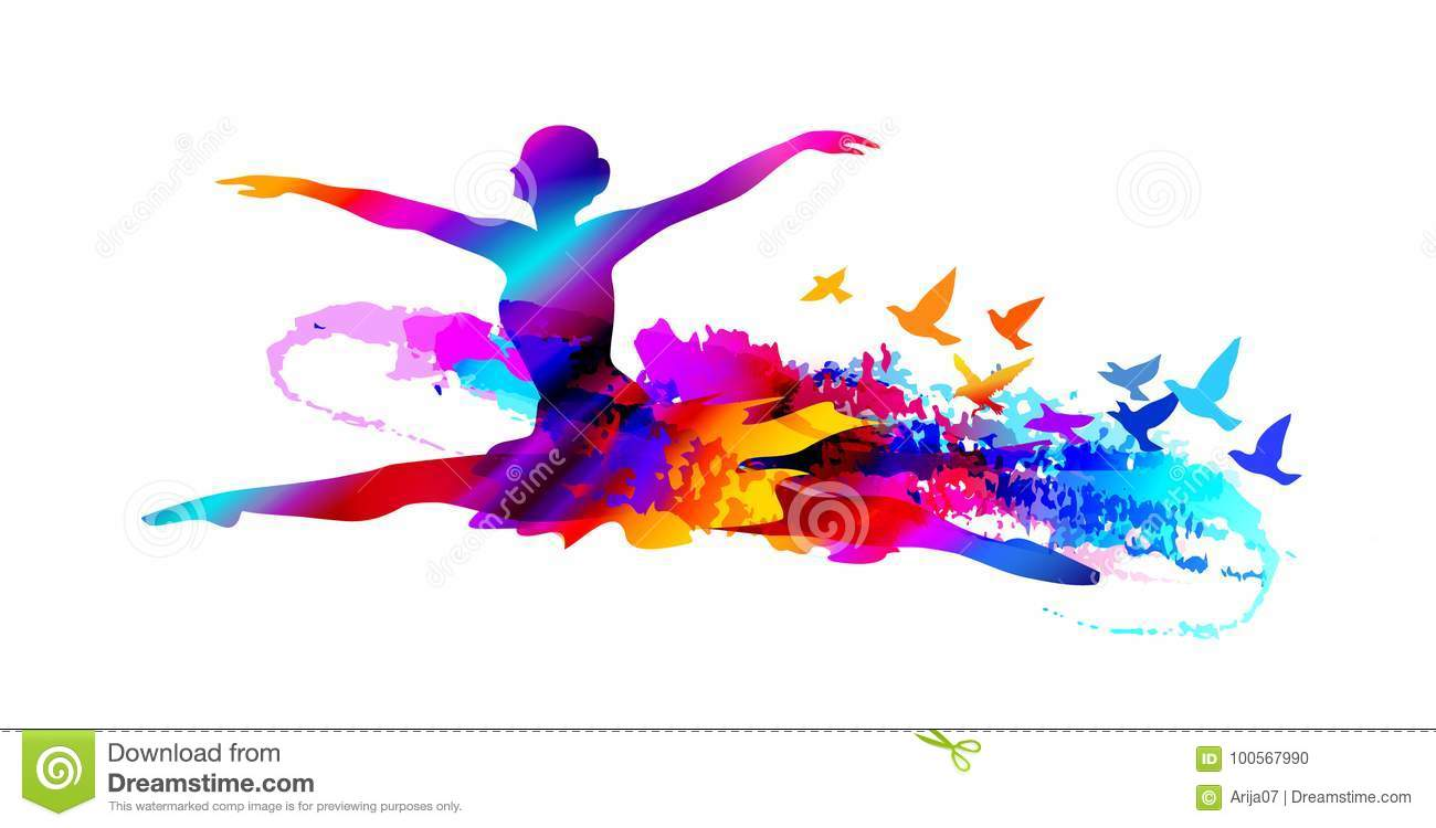 Colorful ballet dancer, digital painting with flying birds