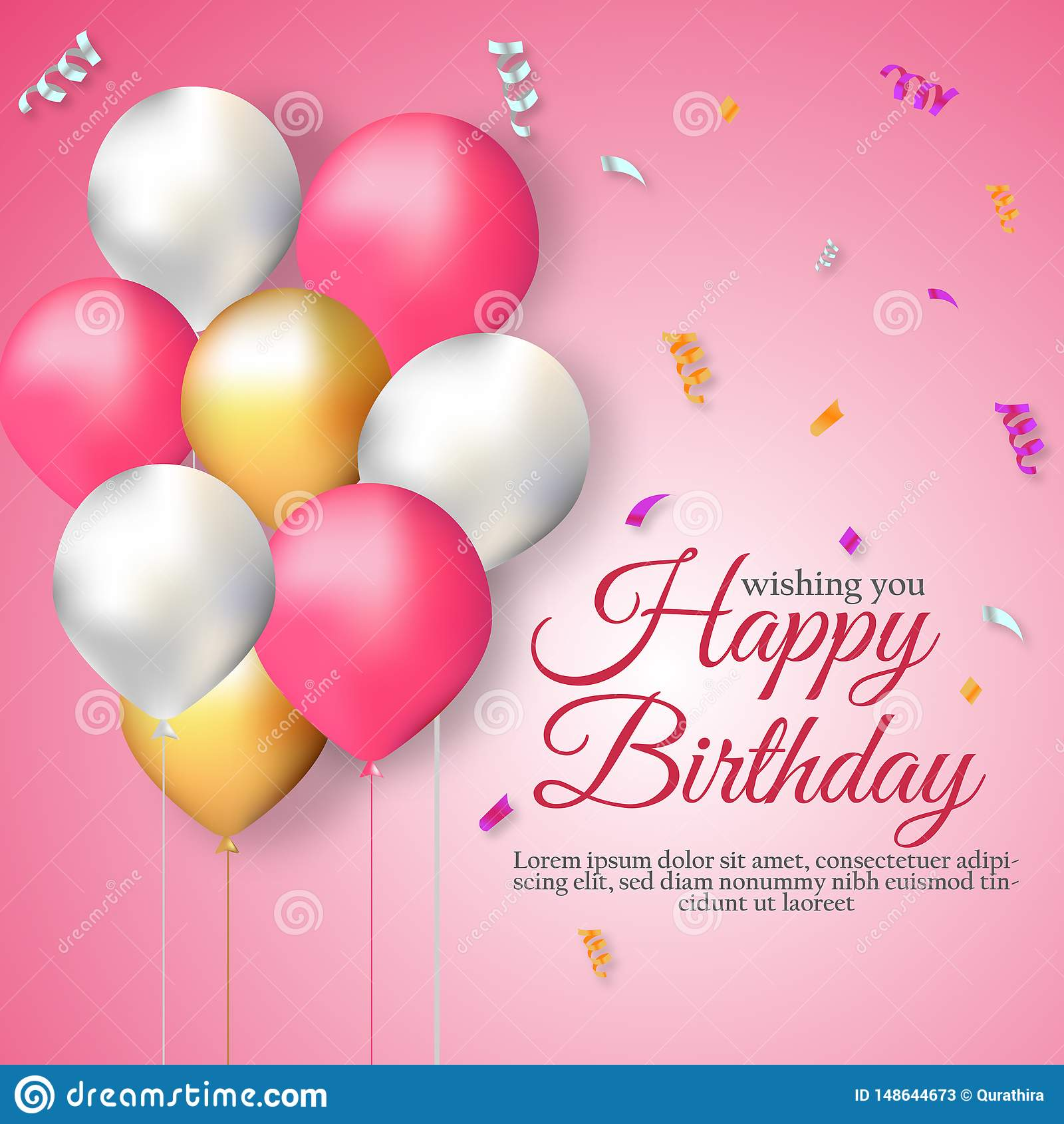 Happy Birthday Wishes Pink Background Template Stock