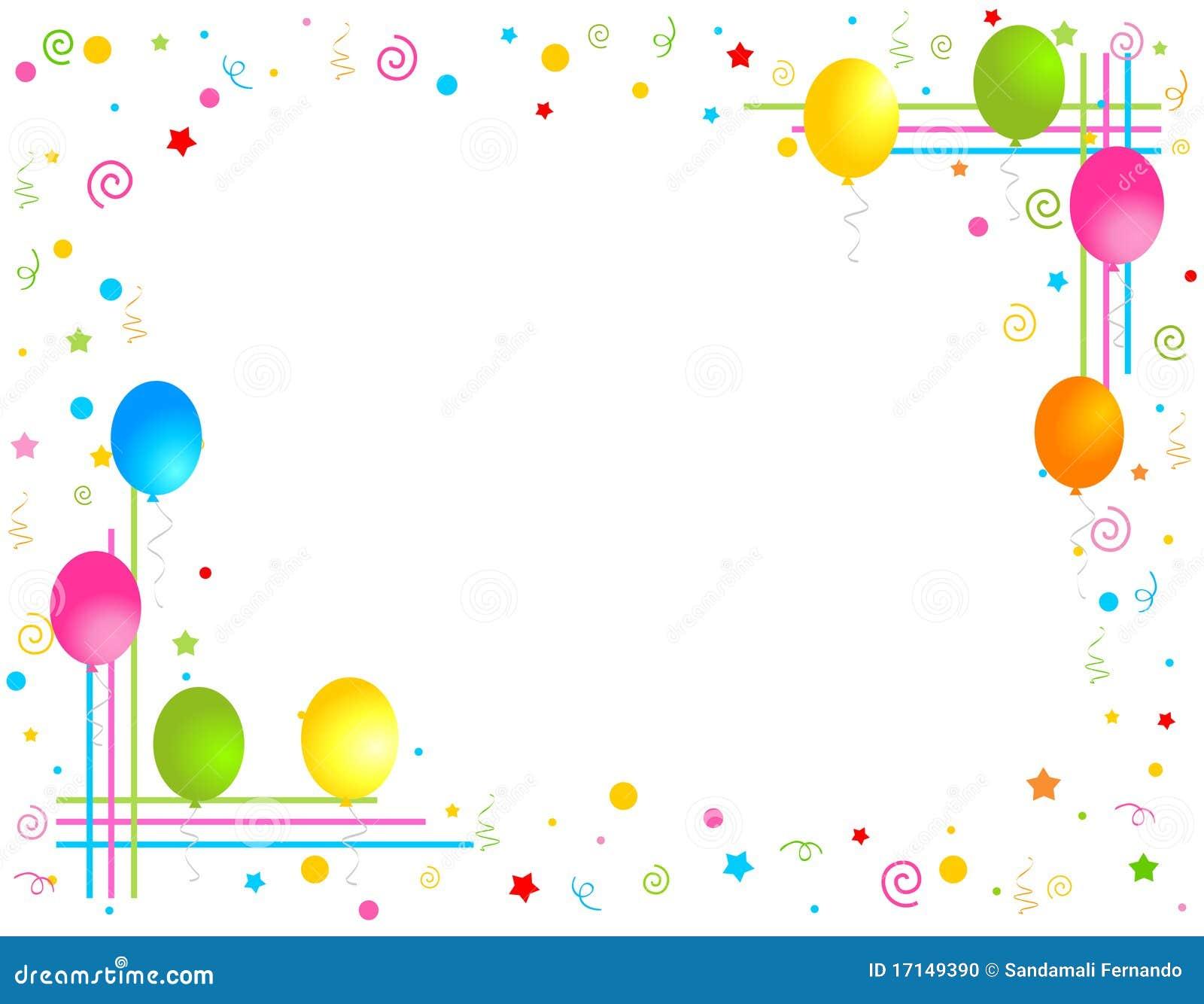 Colorful balloons border party frame stock photo image - Decorador de fotos gratis ...