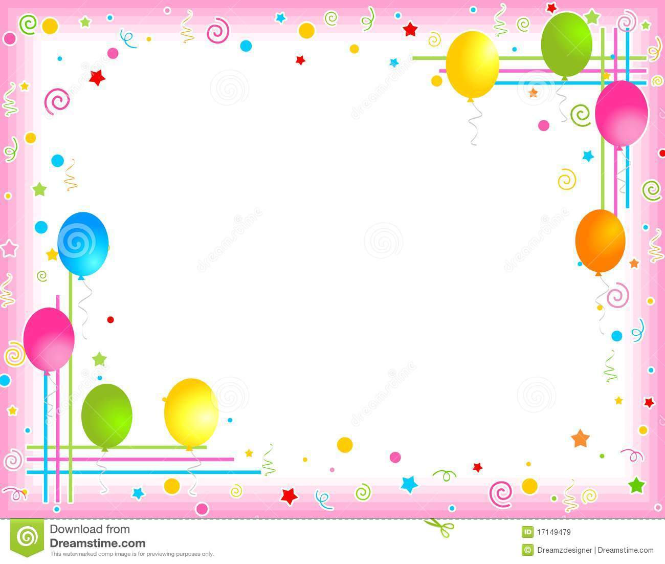 colorful balloons border party frame stock vector illustration