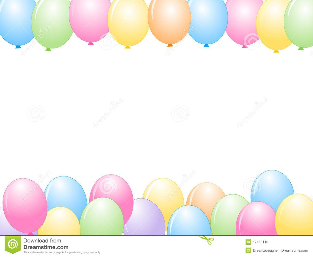 Colorful balloons isolated on white background illustration, Greeting ...