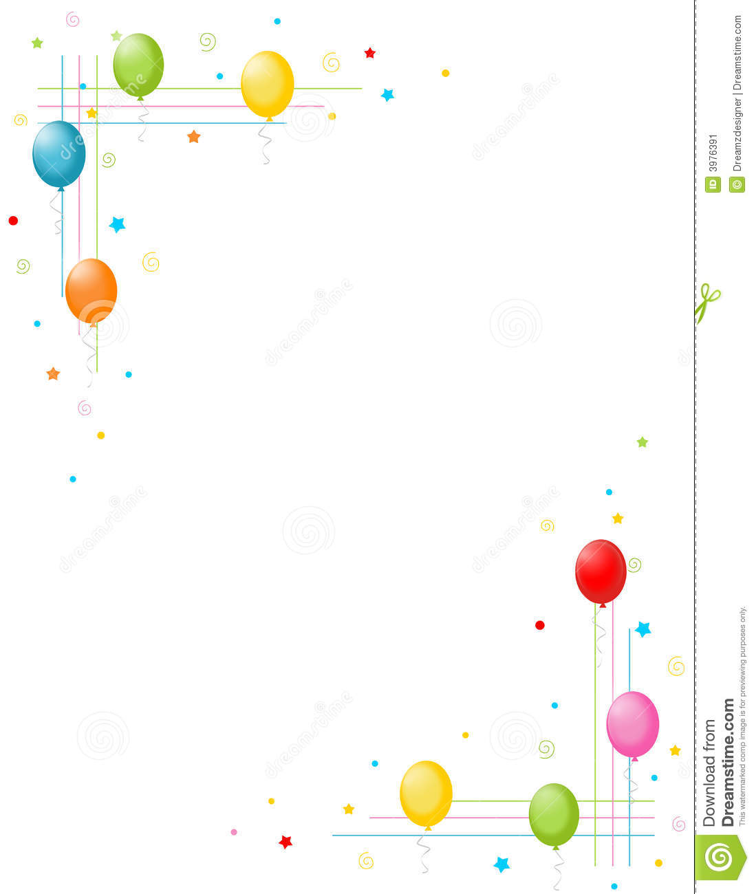 Colorful Balloons Border / Party Frame Stock Illustration ...