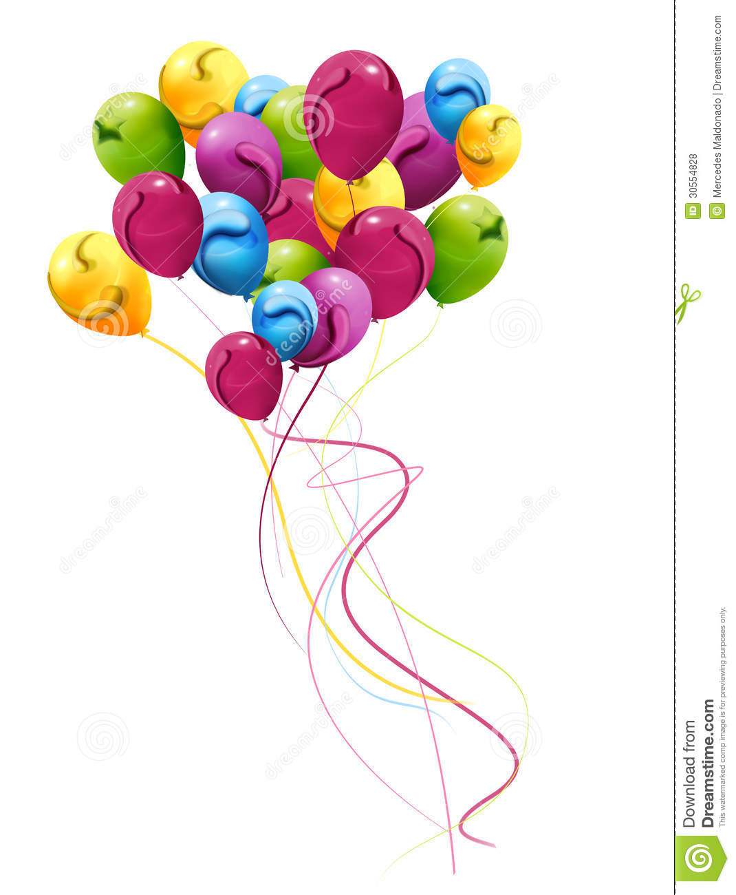 Colorful Balloons, Decorated With Cheerful Bouquet Royalty Free