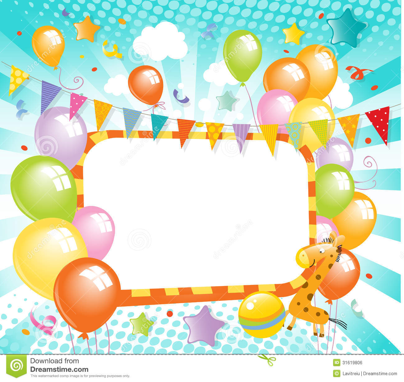 Colorful Balloons Label Royalty Free Stock Image - Image: 31619806