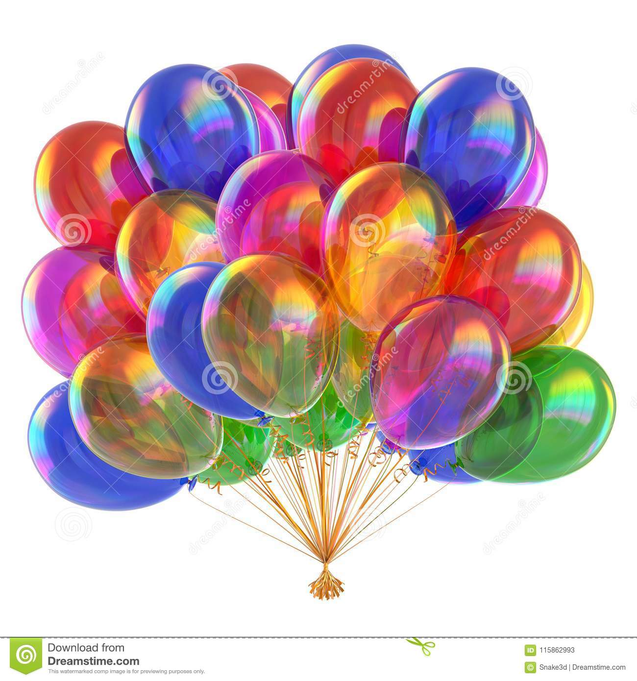 Colorful balloons multicolor glossy balloon bunch
