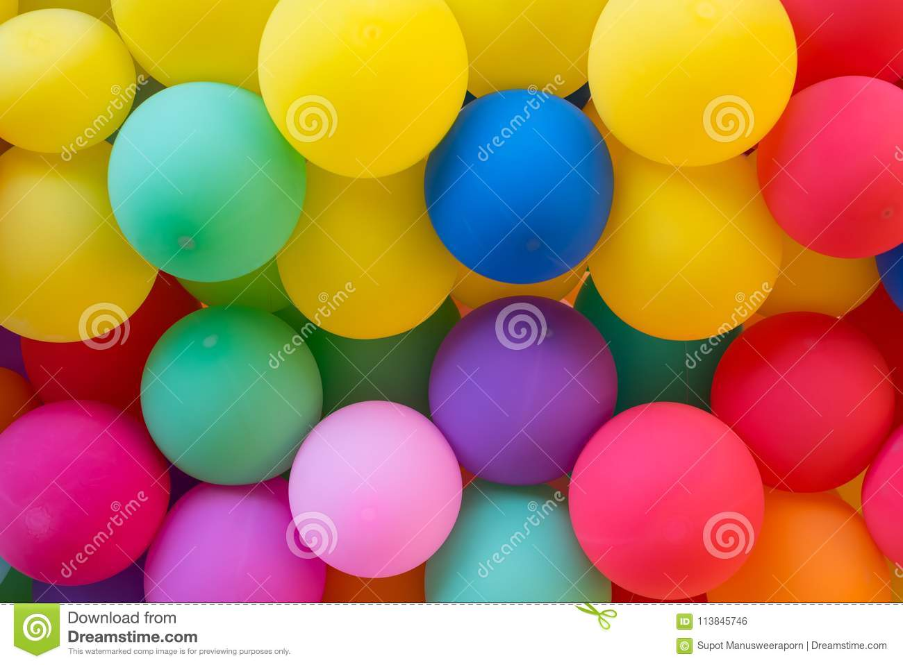 Colorful balloons wall for party and carnival
