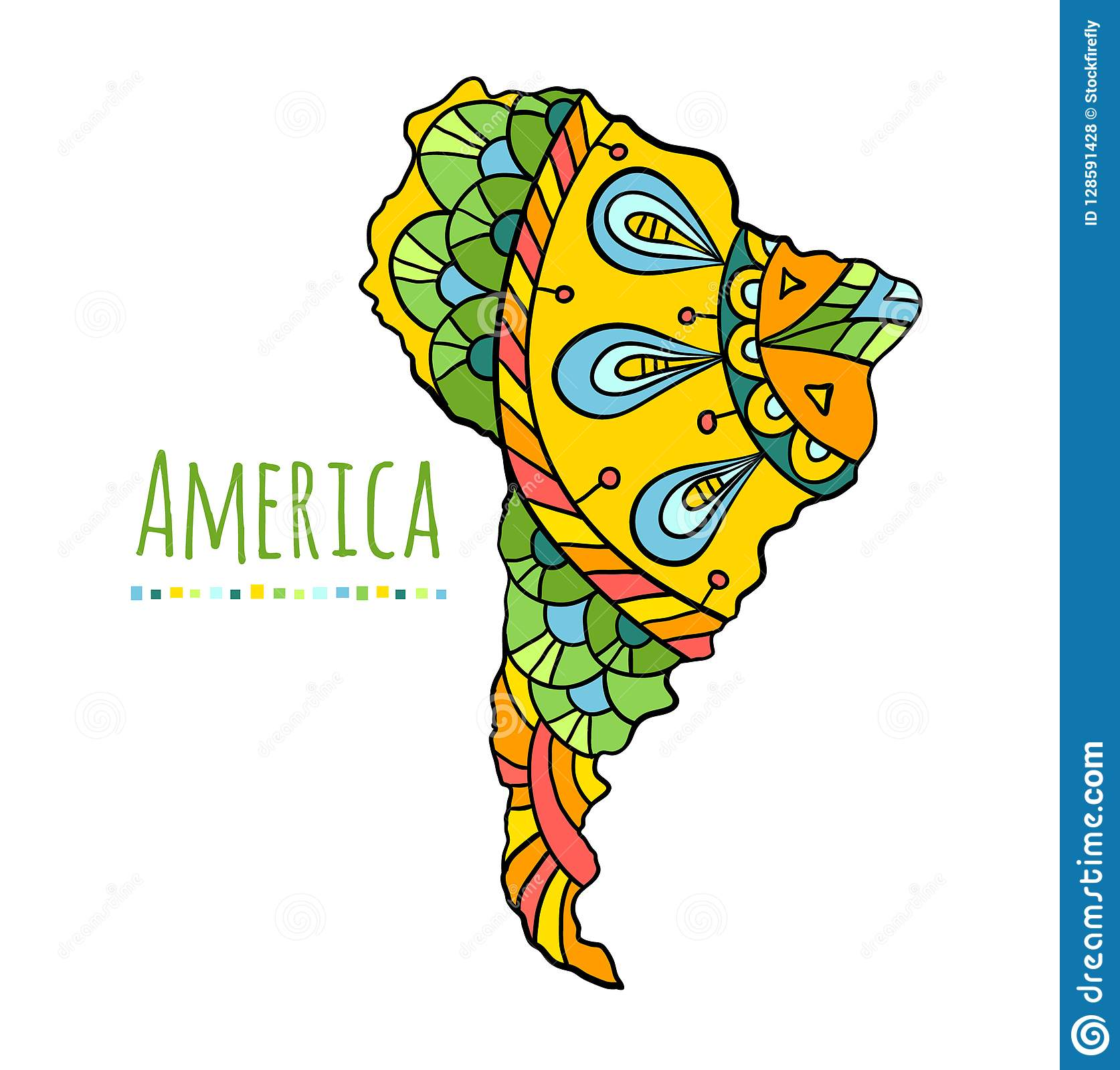 Colorful banner with hand-drawn South America continent. Vector.