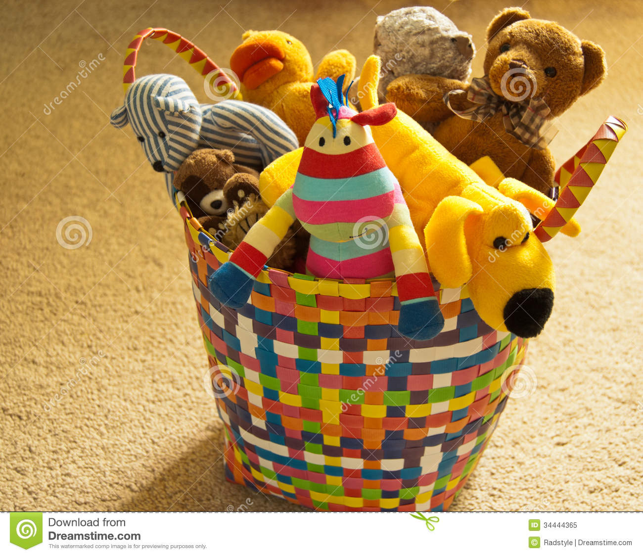 A Ton Of Rooms With Colorful Toys: Colorful Basket With Plush Toys Stock Image