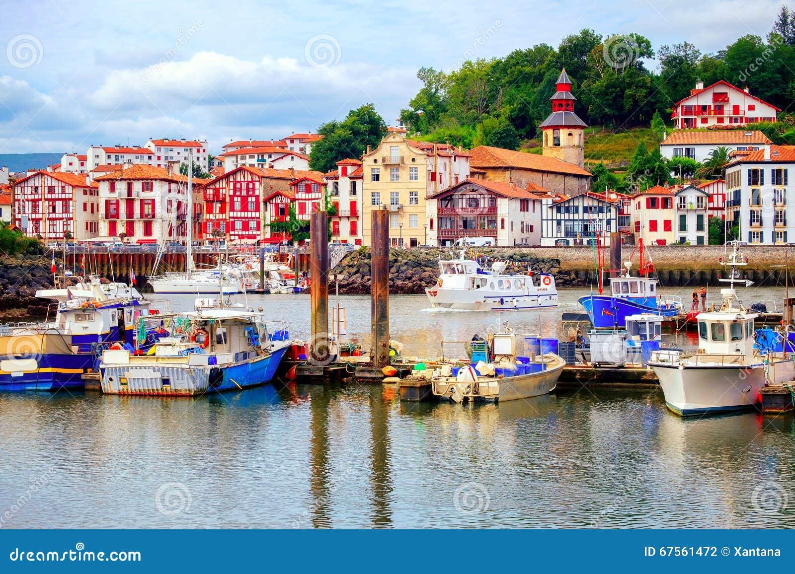colorful basque houses in port of saint jean de luz france stock photo image of jean port. Black Bedroom Furniture Sets. Home Design Ideas