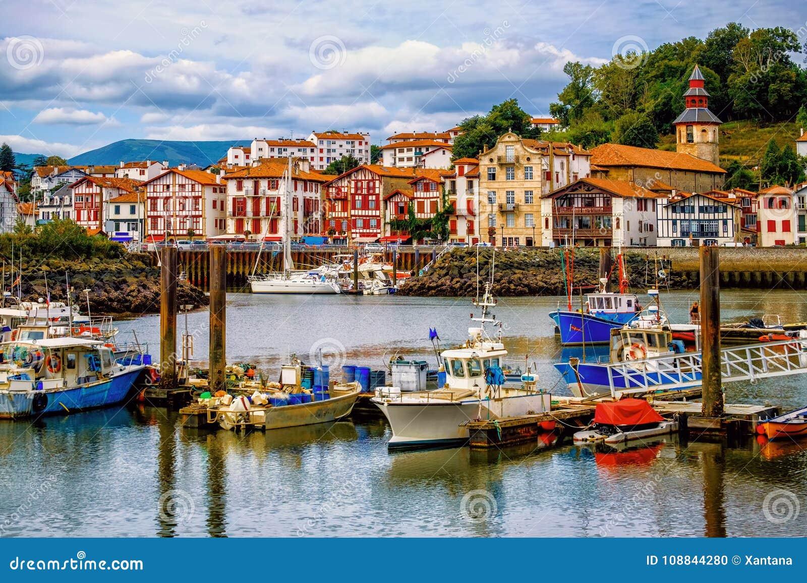 colorful basque houses in port of saint jean de luz france stock photo image of saint. Black Bedroom Furniture Sets. Home Design Ideas