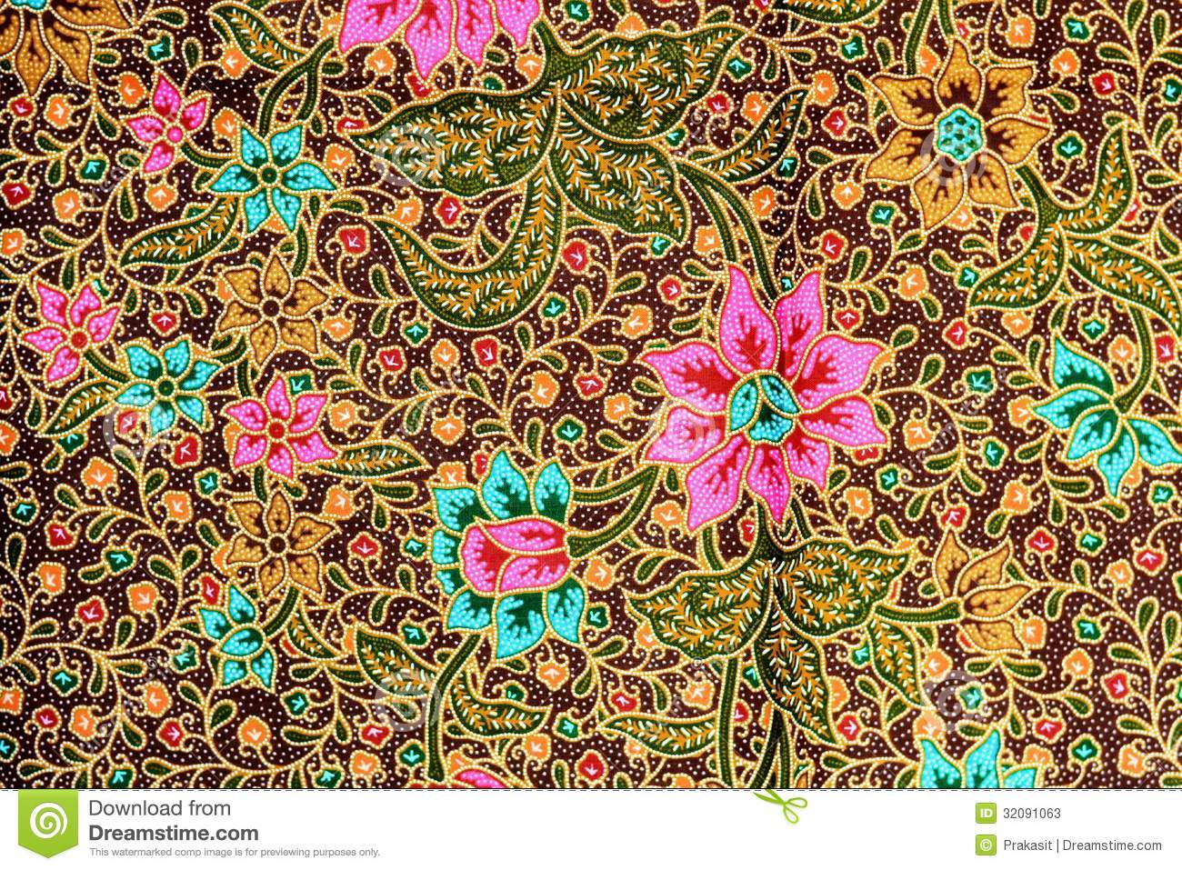 Colorful Batik Cloth Fabric Background Stock Photos - Image: 32091063