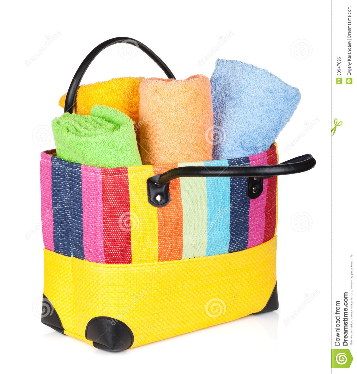 Colorful Beach Bag With Towels Royalty Free Stock Image - Image ...