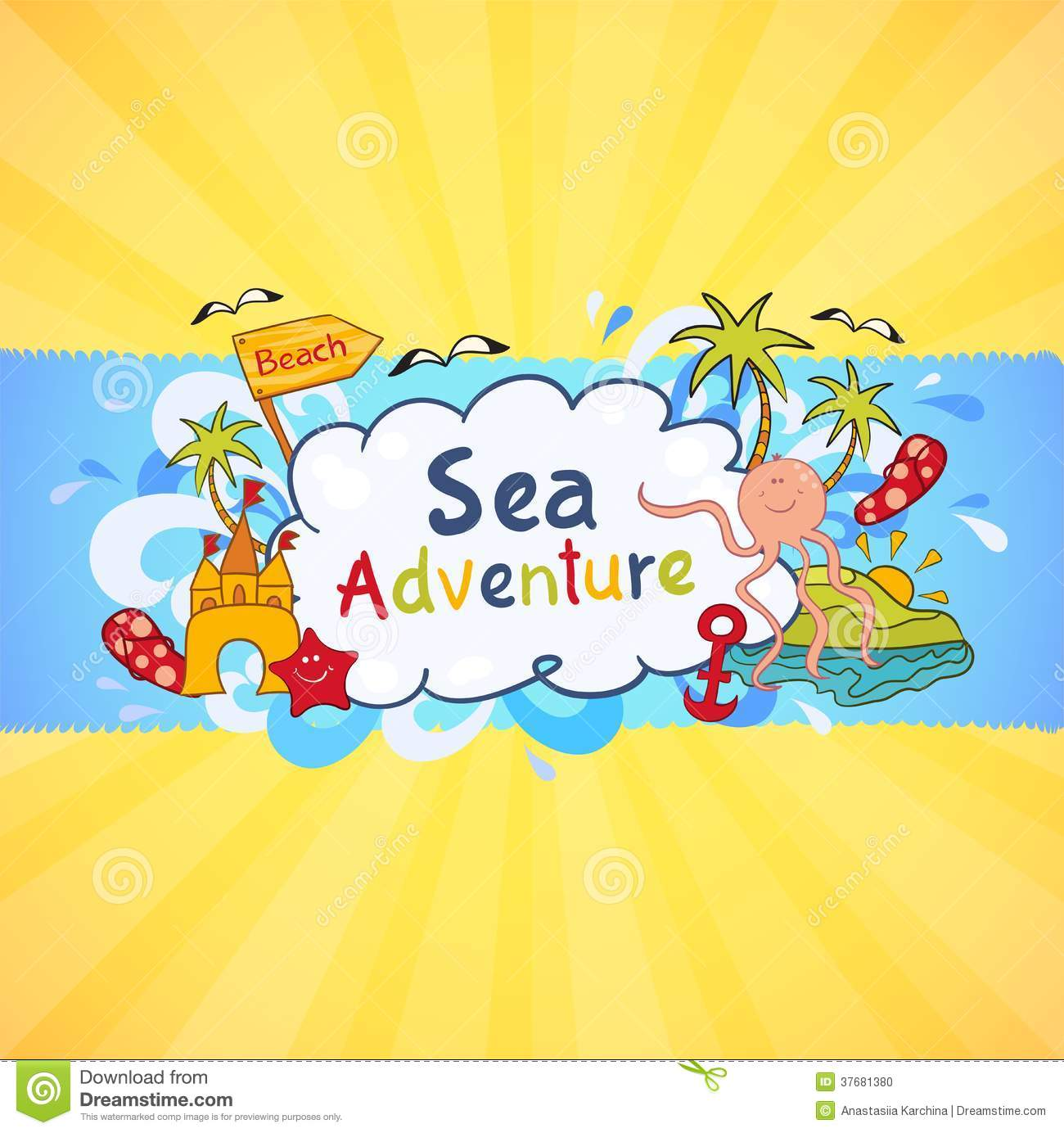 Colorful Beach Banner With Cartoon Elements Stock Photo ... - photo#8