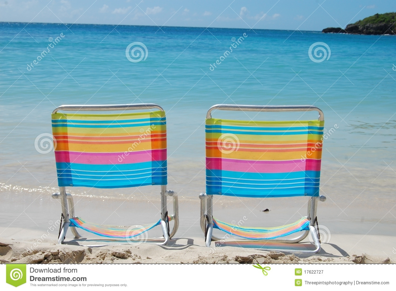 Beach chair on beach - Colorful Beach Chairs Royalty Free Stock Photography