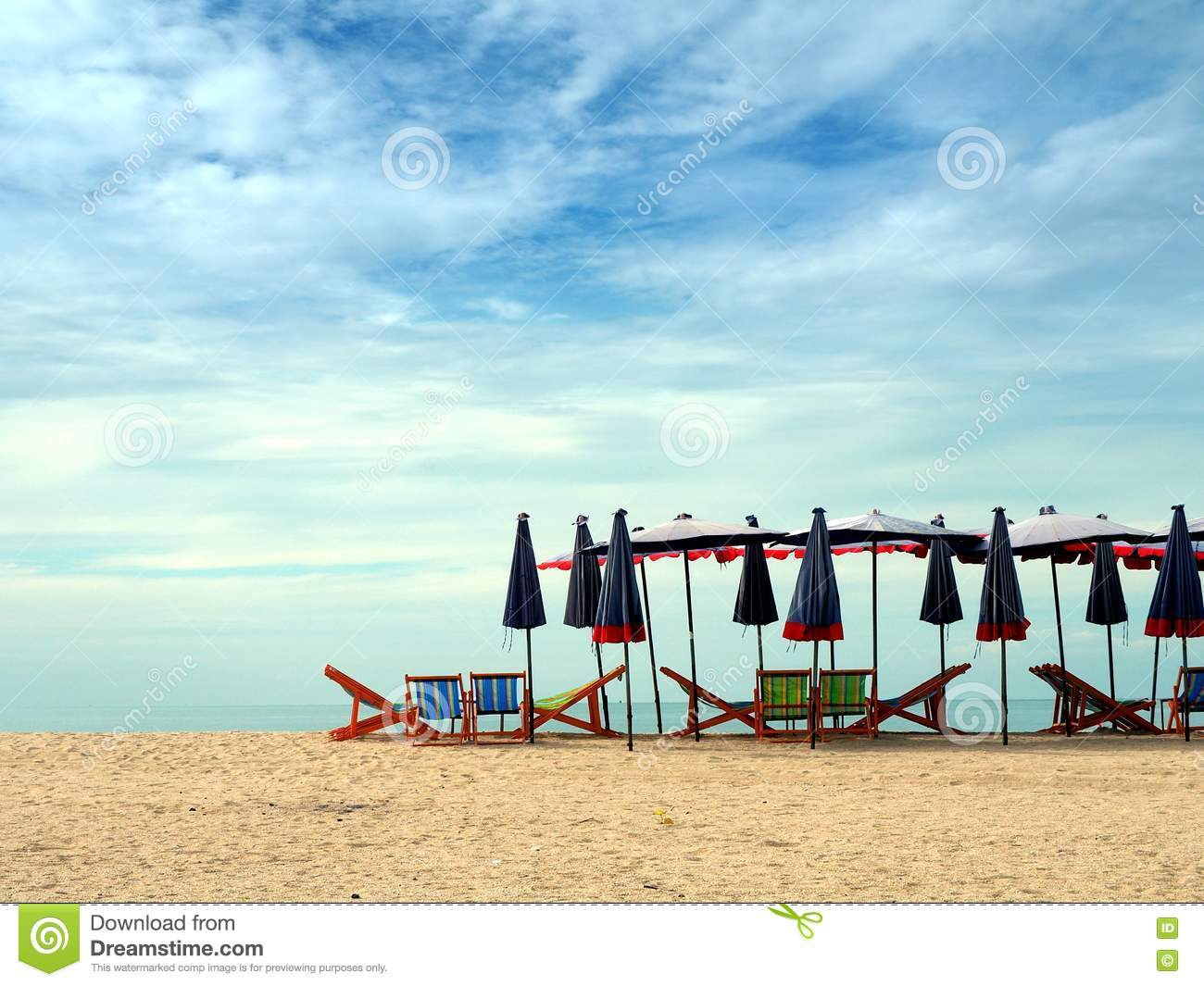 Colorful Beach Chairs - Colorful beach chairs and umbrellas for tourism relax in vocation