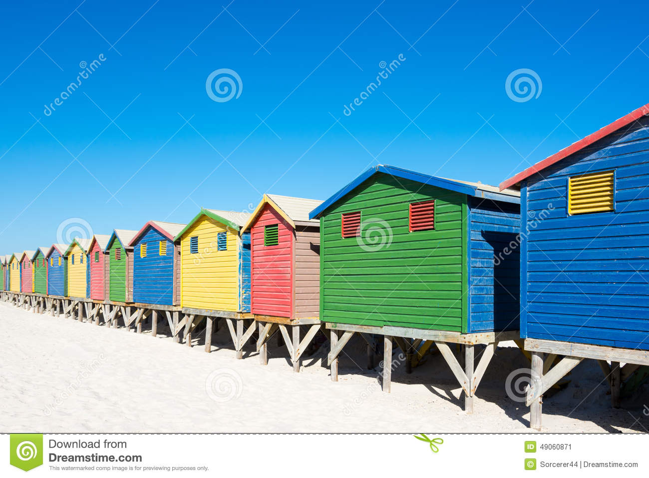 Colorful beach houses at cape town stock image image for Beach house design cape town
