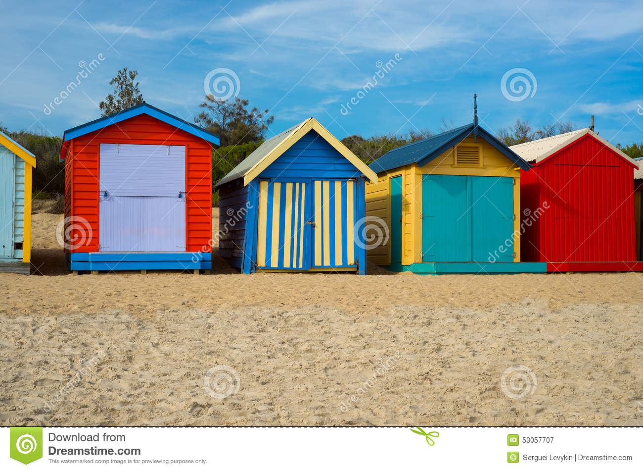 Colorful beach houses in melbourne australia stock photo for Beach house designs melbourne