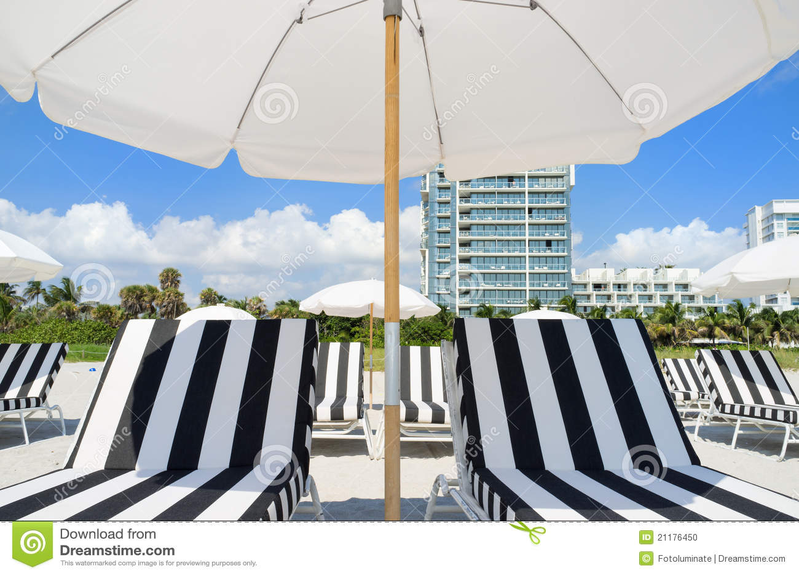 Colorful beach lounge chairs