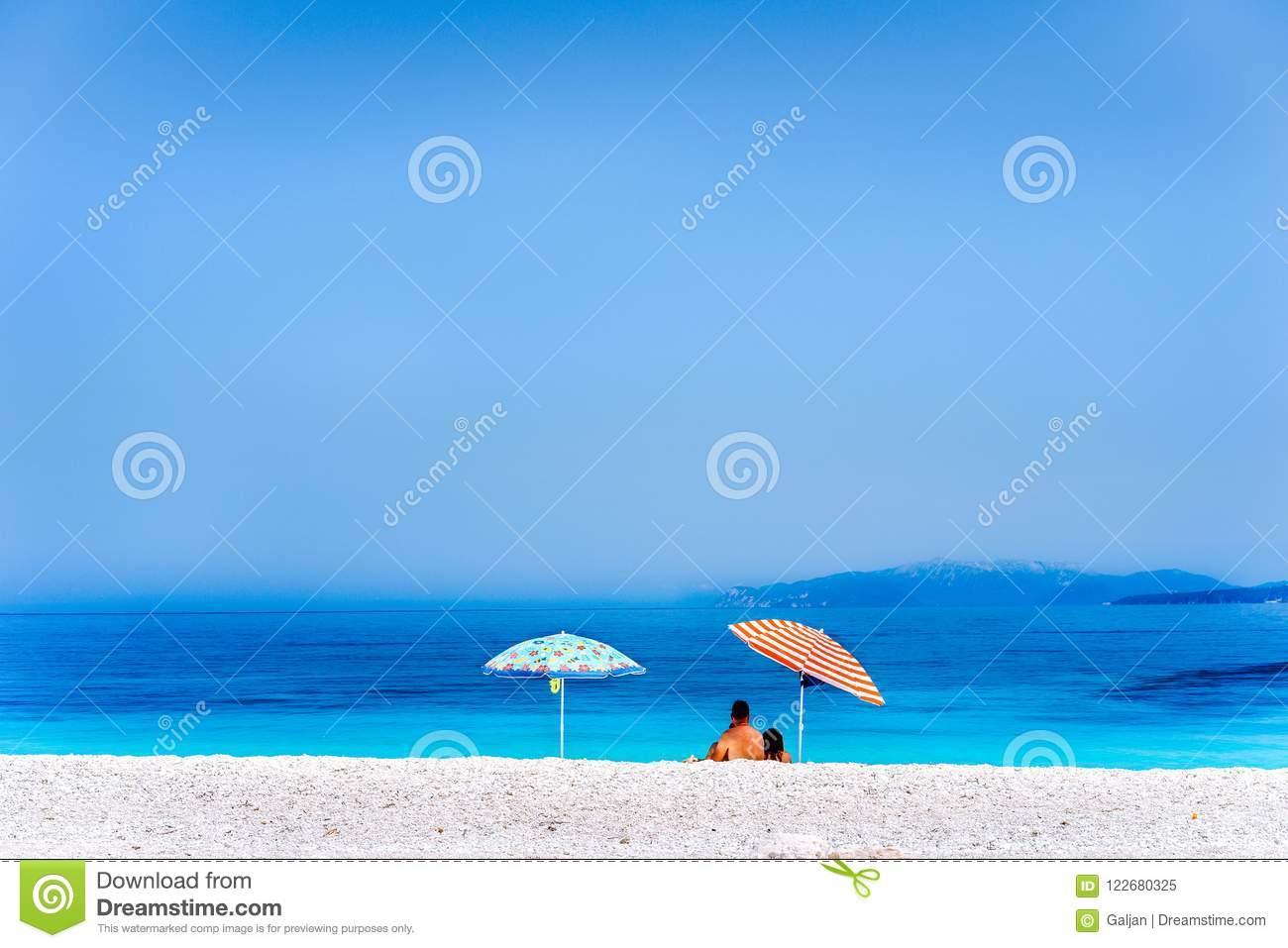 Colorful Beach Umbrellas Crystal Clear Turquoise Sea Water Paradise