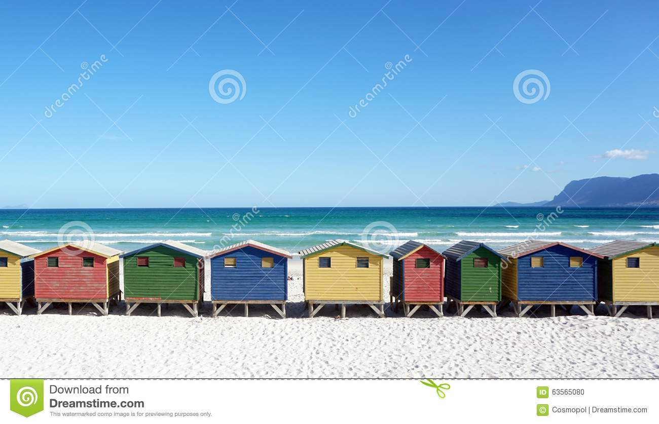 Colorful beachhouses south africa cape town stock photo for Beach house design cape town
