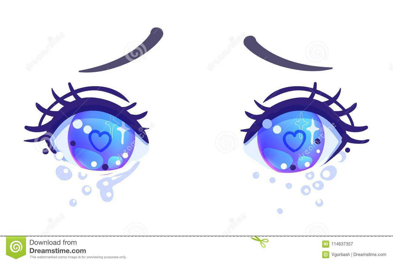 Colorful Beautiful Eyes In Anime Manga Style With Shiny Light Reflections Bright Vector Illustration Isolated Emotions Expression Of Sadness
