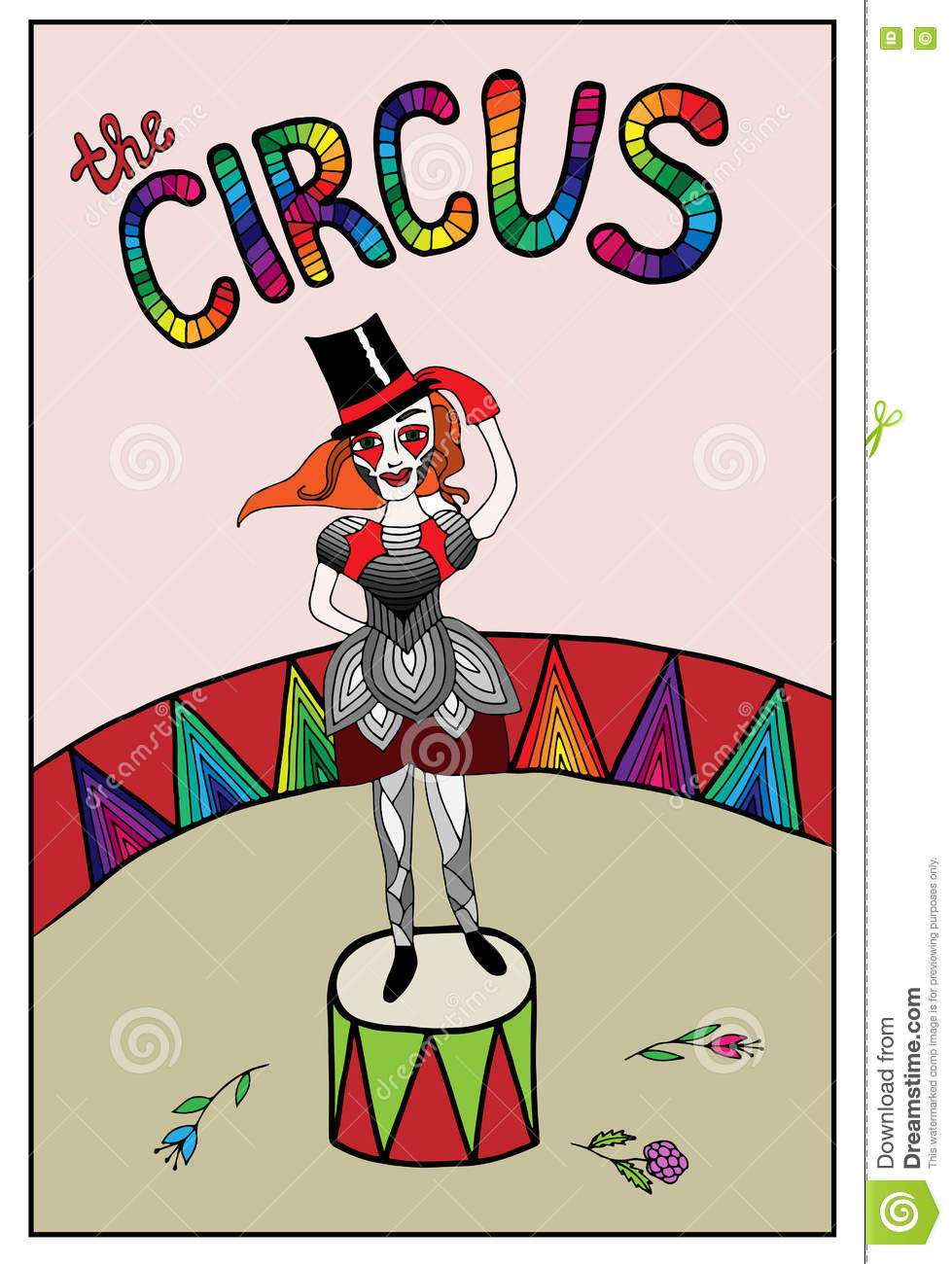 Colorful Beautiful Girl In Circus With Flower With Text Stock Vector ...
