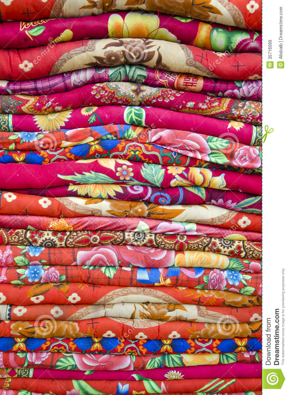 Colorful Bed Sheets Bedding Objects In Asia Market Stock Image ...