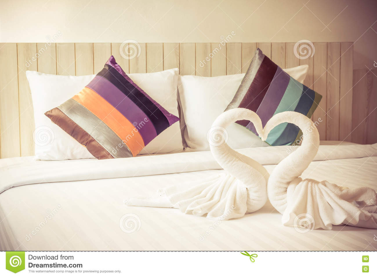 Colorful Bed Sheets And Pillow. Vintage Style Stock Photo - Image of ...
