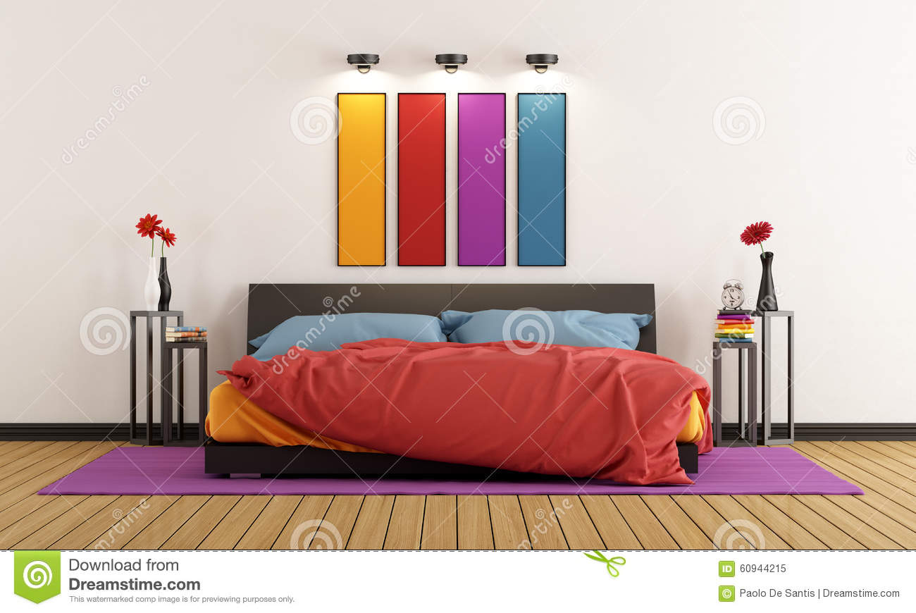 Colorful bedroom stock illustration image 60944215 for Rainbow bedroom decor
