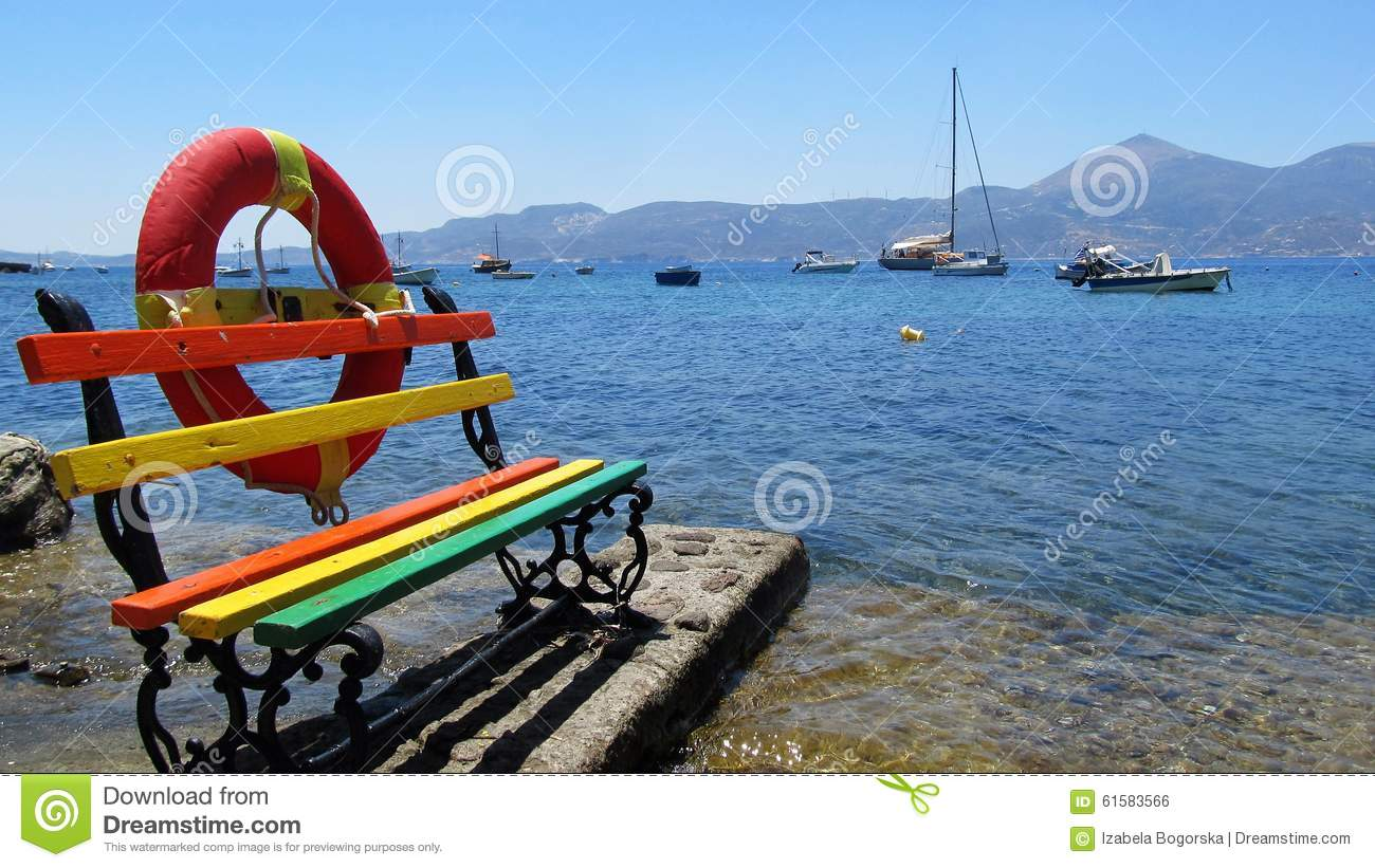Colorful bench at the seaside