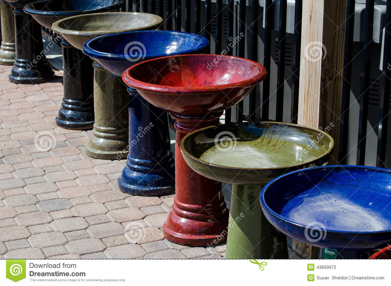 Colorful bird baths stock image. Image of bird, green - 43693973
