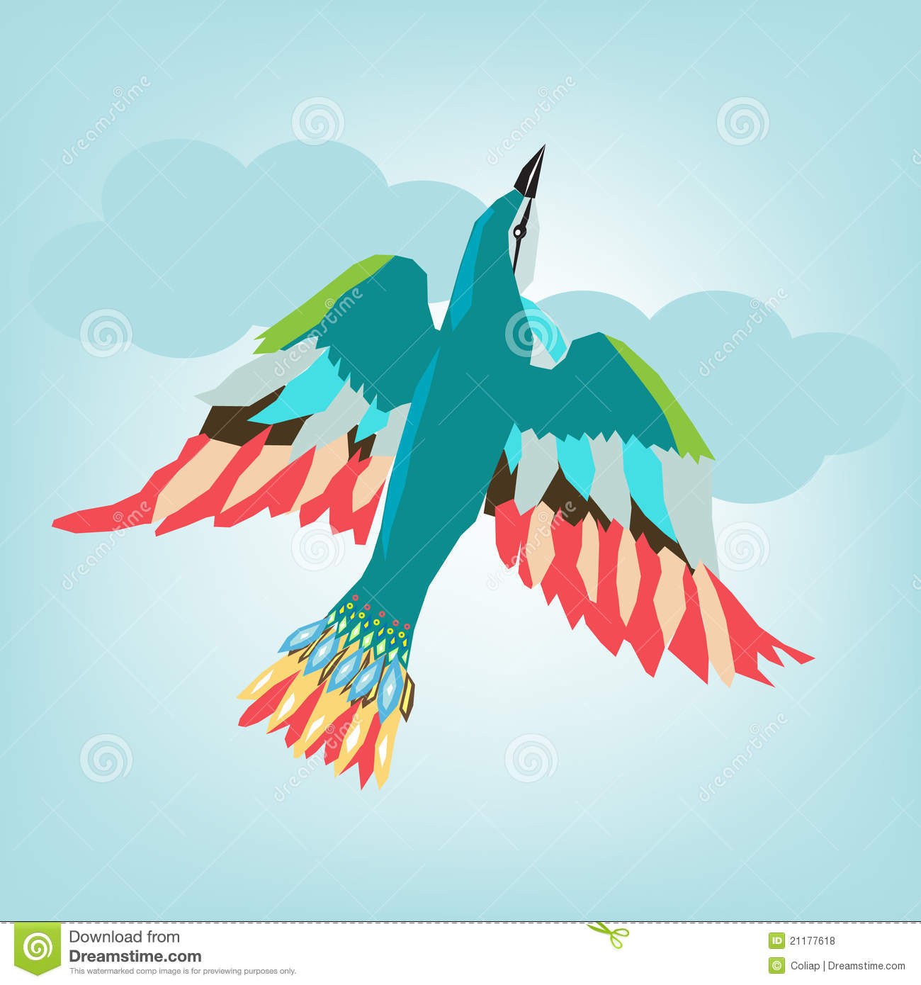 Colorful Bird Flying Stock Vector Illustration Of Line 21177618