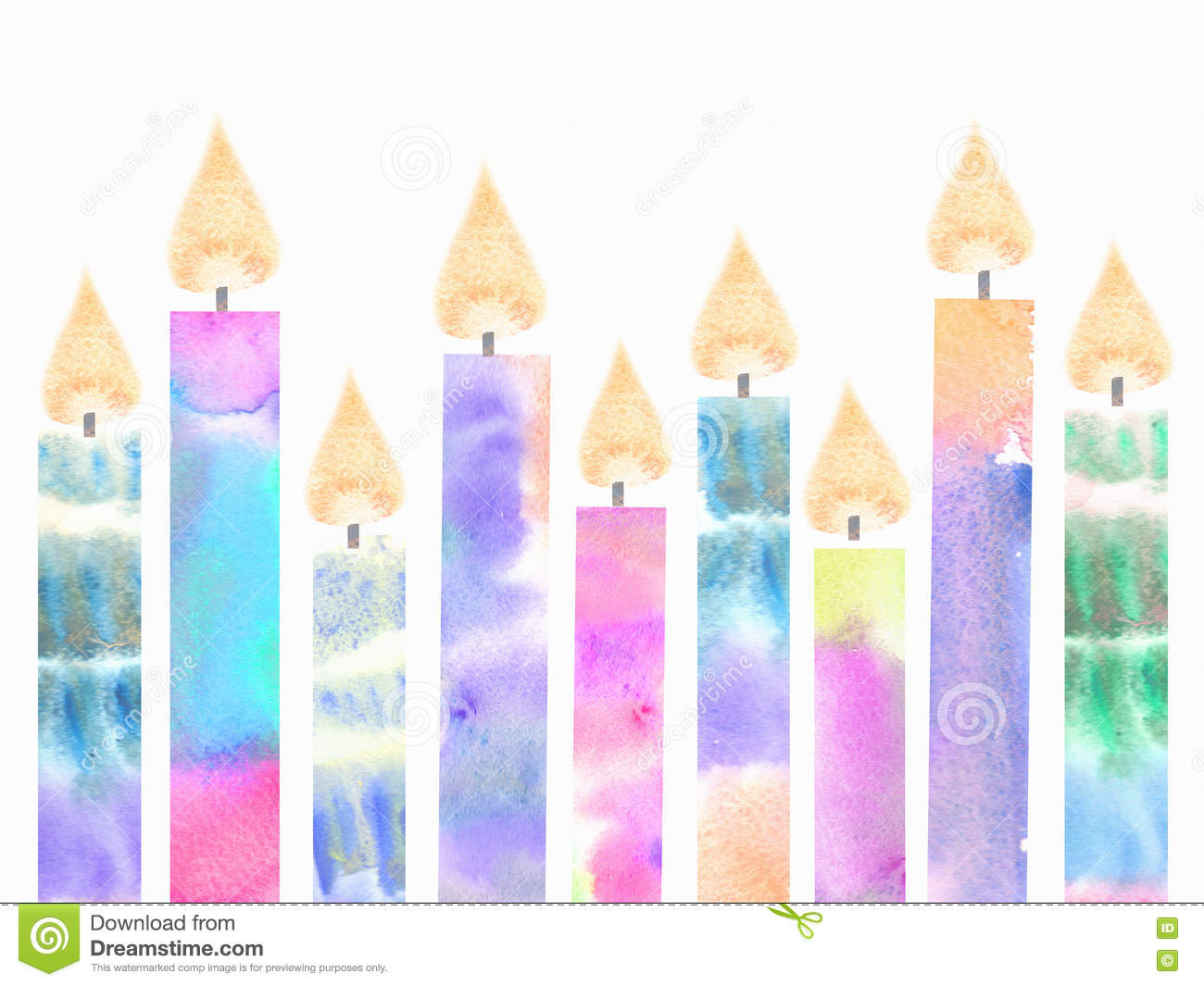 Colorful birthday burning candles. Hanukkah greeting card with candles isolated on white background