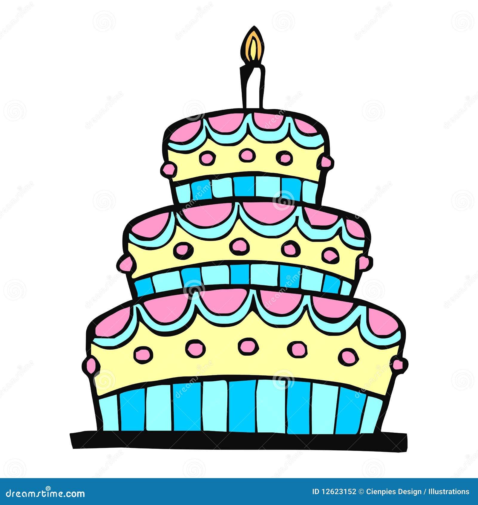 Birthday Cake Sketch Illustration