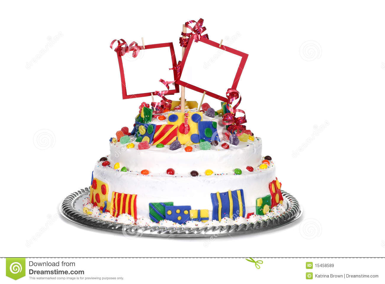 Colorful Birthday Cake With Blank Space Royalty Free Stock ...