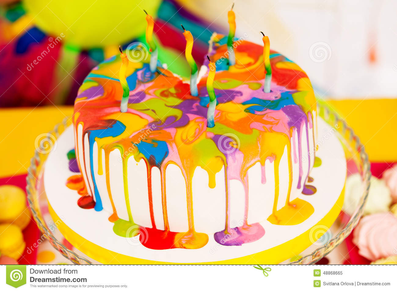Swell Colorful Birthday Cake Stock Image Image Of Decoration 48868665 Funny Birthday Cards Online Fluifree Goldxyz