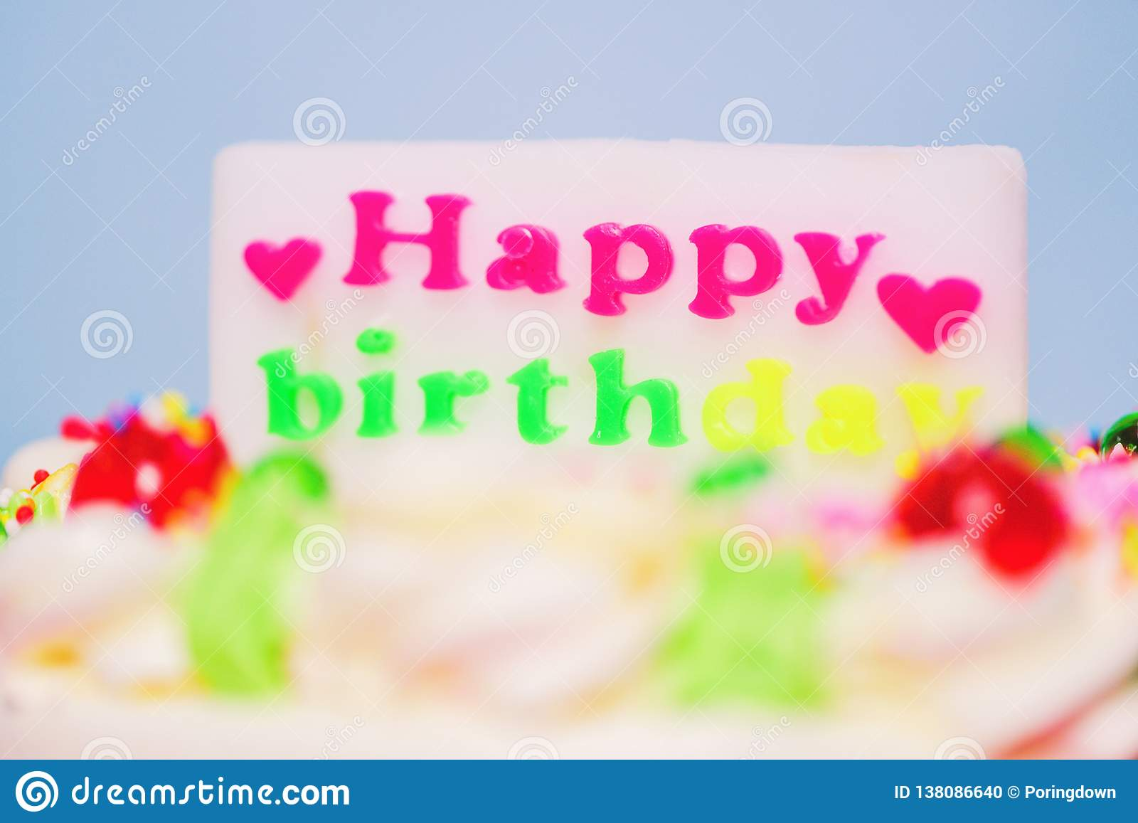 Miraculous Colorful Birthday Cake With Label Of Happy Birthday And Heart Funny Birthday Cards Online Fluifree Goldxyz