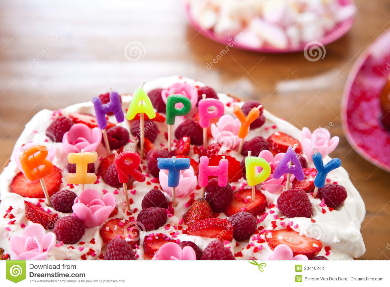 colorful birthday cake with letters