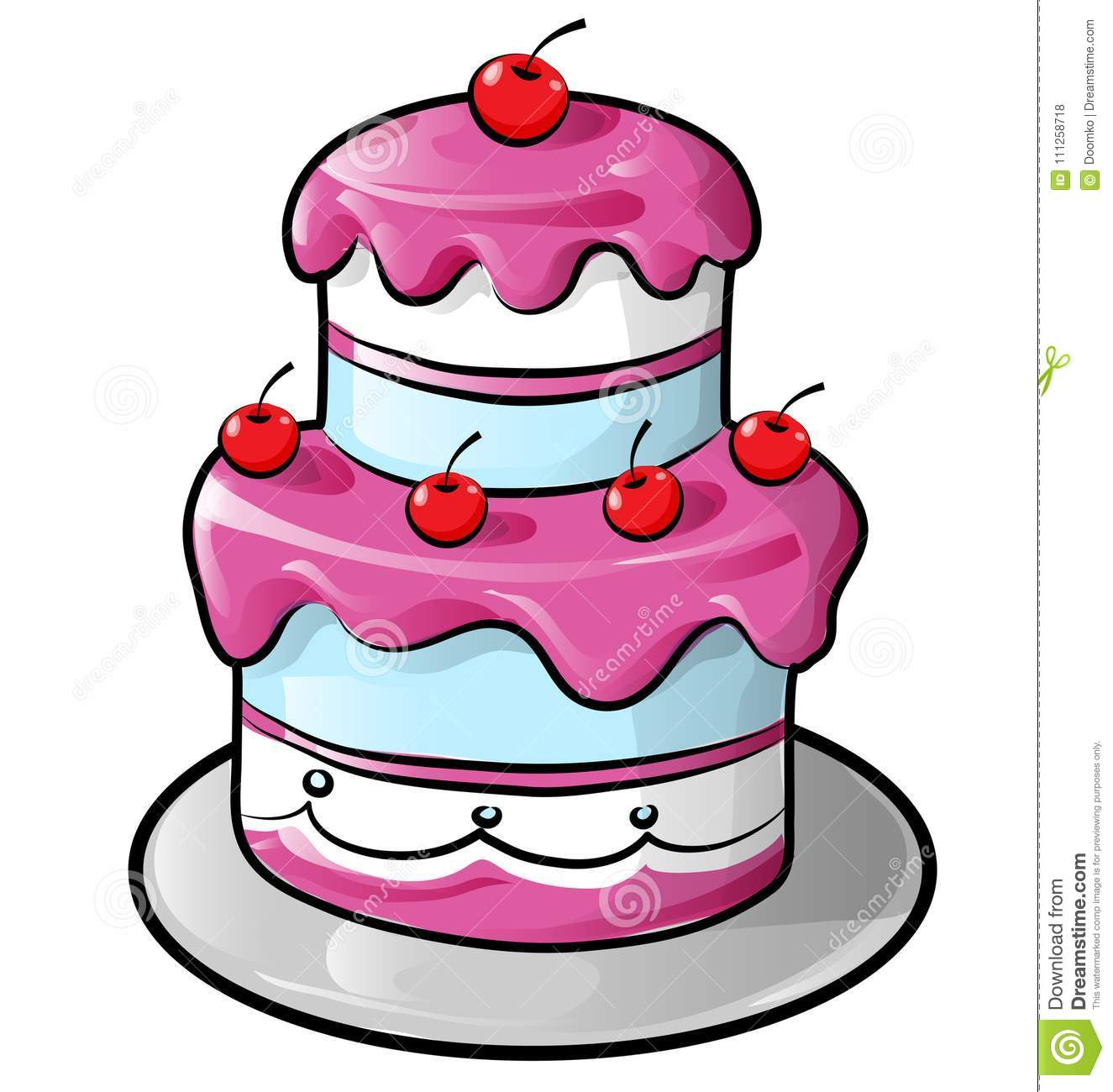 Colorful Birthday Cake With Outline Stock Vector Illustration of